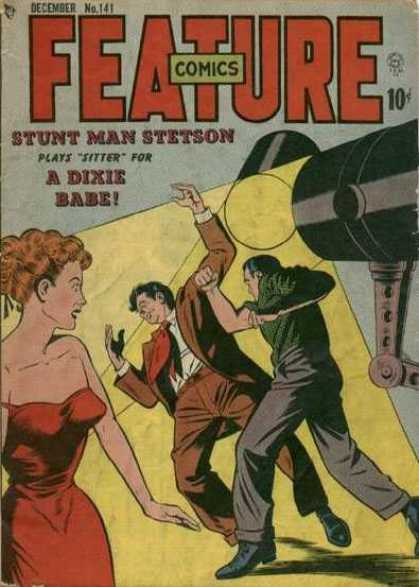 Feature Comics 141 - Stun Man Stetson - Projector - Man - Woman - A Dixie Babe