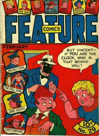 Feature Comics 29 - Spin Shaw - Micky Finn - Vincent - Clock - Jane Arden