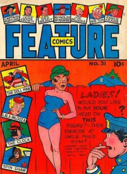 Feature Comics 31 - Man In Bathing Suit - Ladies - Policeman Whistle - Green Hat - April