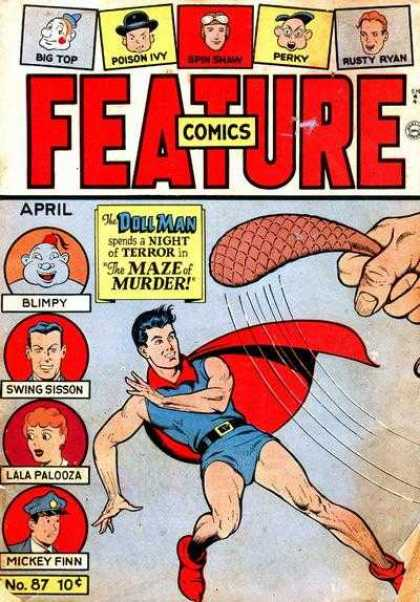 Feature Comics 87 - Doll Man - Flying - Cape - Beaver Tail - Red Shoes