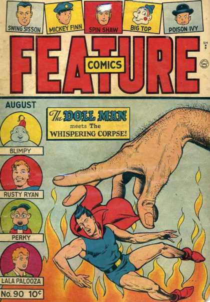 Feature Comics 90 - The Doll Man Meets The Whispering Corpse - Fire - Blimpy - Rusty Ryan - Perky