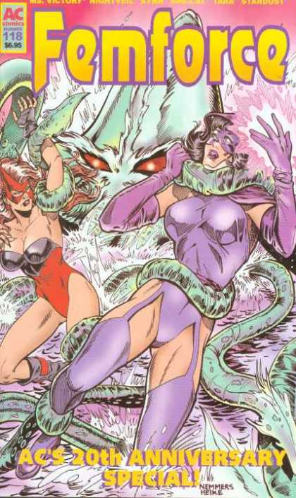 Femforce 118 - Ac Comics - 20th Anniversary - Tentacles - Purple Gloves - Red Bustier