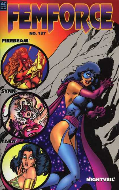 Femforce 137 - Firebeam - Synn - Tara - Rock Wall - Cape