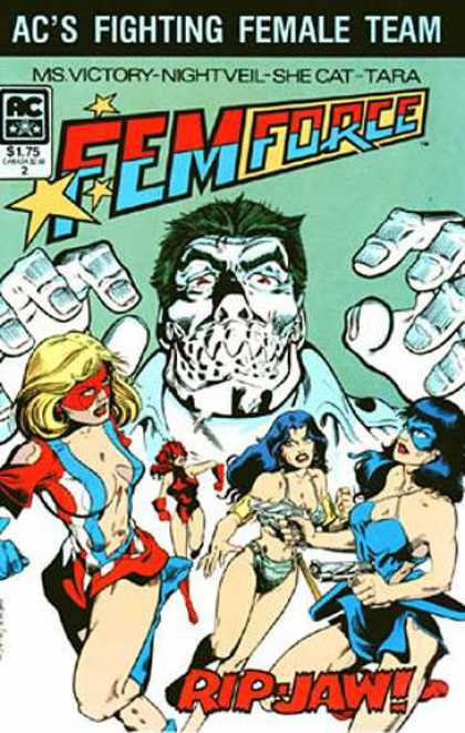 Femforce 2 - Villain With Big Metal Teeth - Super Women Fighting Villain - Pretty Ladies - White Villain - Green Hair - Bill Black, Mark Heike