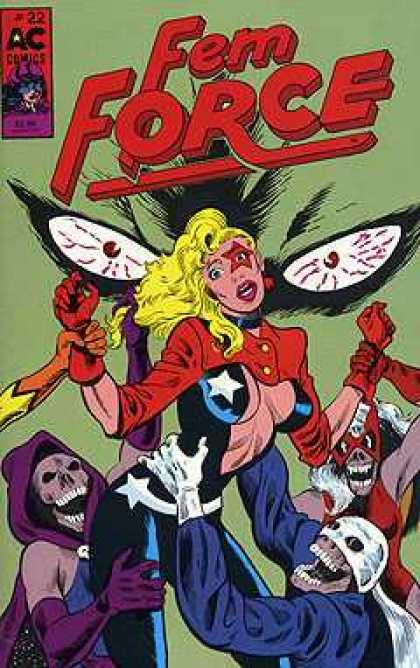 Femforce 22 - Blood-shot Eyes - Skeletons In Costume - Star Over Left Eye - Skimpy Outfit - Dead Superheroes