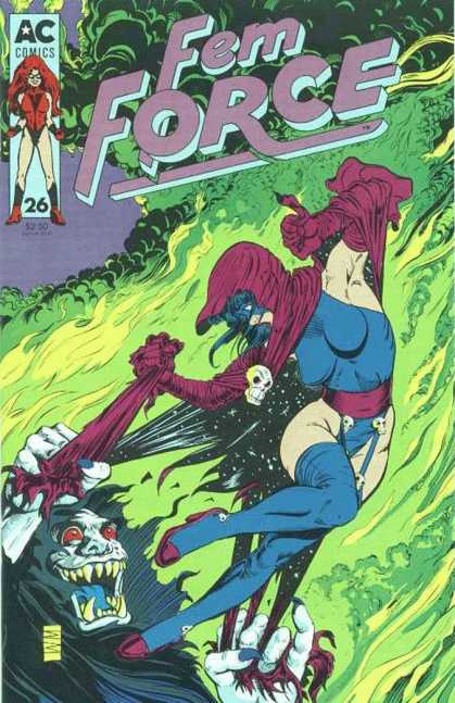Femforce 26 - Green Flame - 26 - Monster - Skull - Female Hero