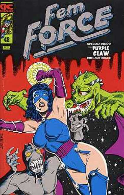 Femforce 42 - Purple Claw - Monsters - Pull Out Comic - Minature Skulls - Long Purple Gloves - Mark Heike