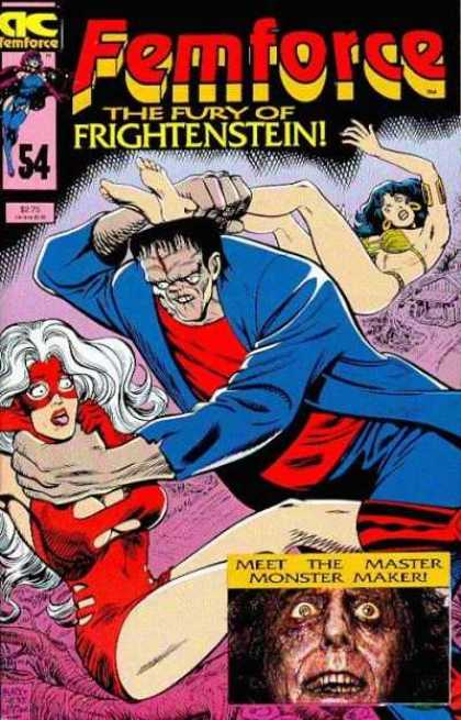 Femforce 54 - Fury Of Fightenstein - Frankenstein Monster On The Front - Two Women In Danger - Number 54 - Master Monster Maker - Bill Black, Mark Heike