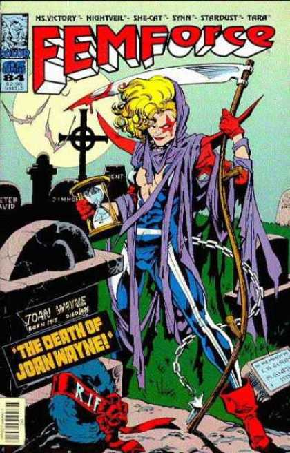 Femforce 84 - No 84 - Graveyard - Death Of John Wayne - Tombs - Ms Victory - Mark Heike