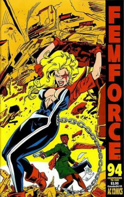 Femforce 94 - Chain - Woman - Superhero - Gun - Ac Comics