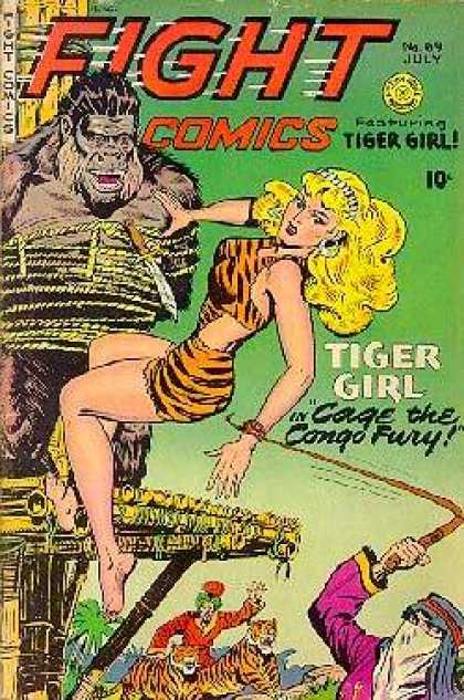 Fight Comics 69 - Tiger Girl - 10 Cents - July - Cage The Congo Fury - Ape Man Tied Up