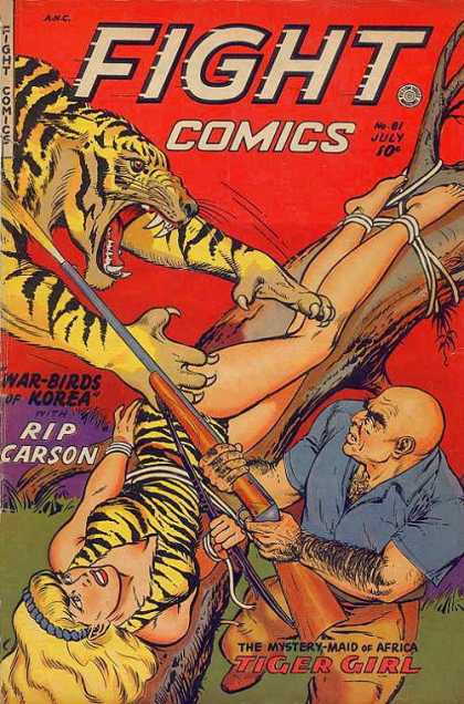 Fight Comics 81 - Tiger - Ropes - Fight - Tree - Woman