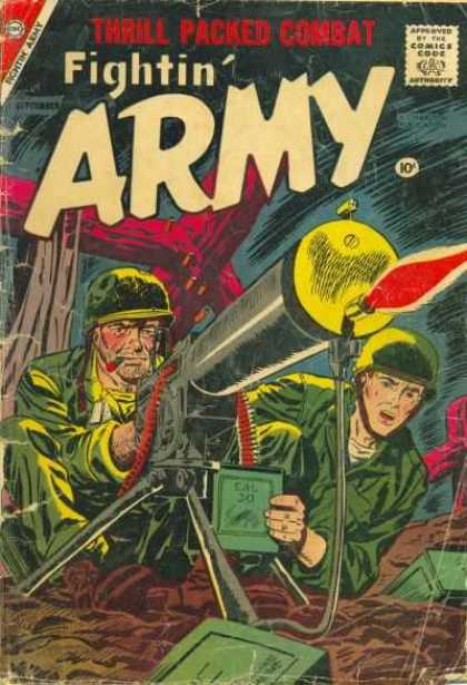 Fightin' Army 26 - Thrill Packed Combat - Approved By The Comics Code - Soldier - Machinegun - Box