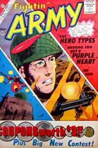 Fightin' Army 40 - Purple Heart - Hero Types - Soldier - Gun - War