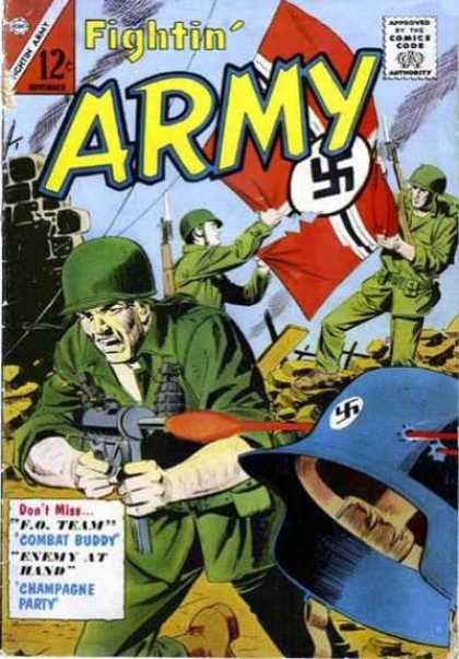 Fightin' Army 60 - Approved By The Comics Code - Soldier - Flag - Grenade - Machinegun