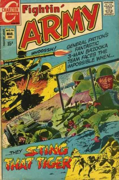 Fightin' Army 96 - Charlton Comics - General Patton - Sting That Tiger - Army Men - Bazooka