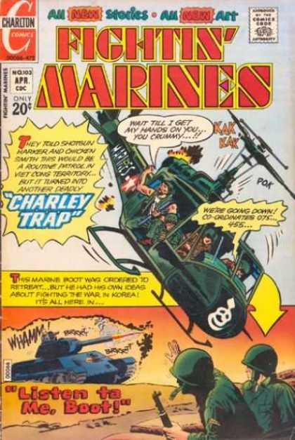 Fightin' Marines 103 - Charlton Comics - Approved By The Comics Code - Charley Trap - Helicopter - Tank
