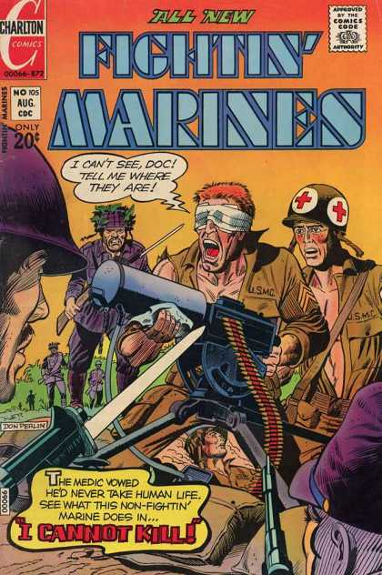 Fightin' Marines 105 - Approved By The Comics Code Authority - Chartlon Comics - Gun - No105 - Aug