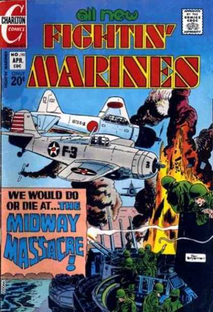 Fightin' Marines 110 - Charlton - April - 20 Cents - Airplane - Flame