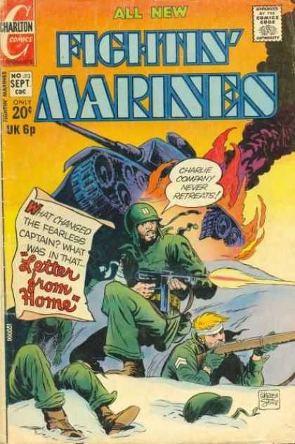Fightin' Marines 113 - Charlton Comics - Comics Code - Soldier - Letter From Home - Tank