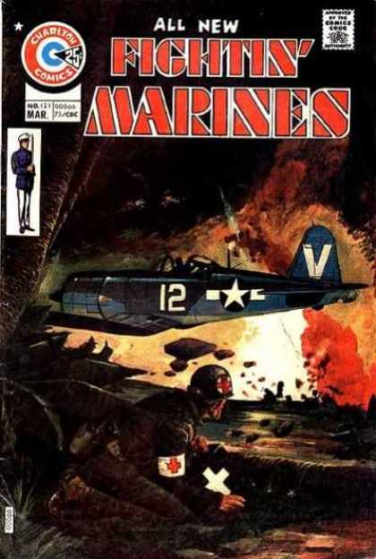 Fightin' Marines 121 - Red Cross - Airplane - War - Soldier - Bombs