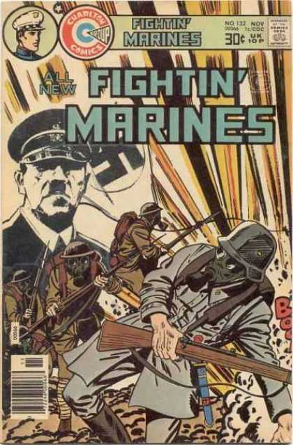 Fightin' Marines 132 - Charleton - War - Wwi - Hitler - Swastika