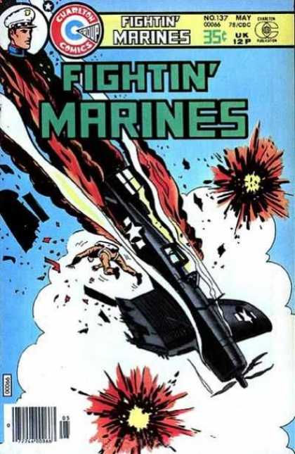 Fightin' Marines 137 - A Plane Crash - A Person With Parasuite - Sky - Captain - Fire