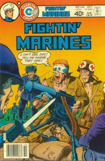 Fightin' Marines 146 - Charlton Comics Group - Outnumbered - No 146 - Machine Gun - Wounded Gun