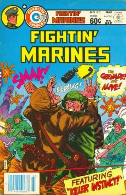 Fightin' Marines 173 - Killer Instinct - The Grenade Its Alive - Soliders In Green Helmets Fighting - Shotguns Being Fired - Yellow And Orange Explosions