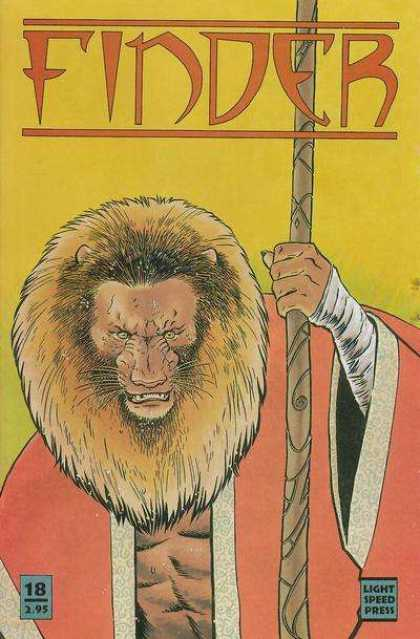 Finder 18 - Lion-man - Wooden Staff - Red And White Cloak - White Wraps - Yellow Background