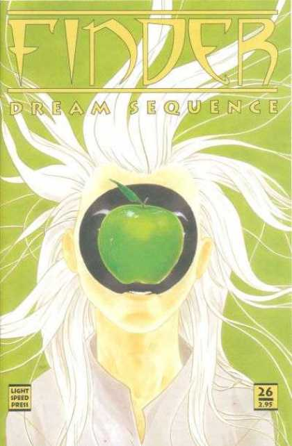 Finder 26 - Green Apple - White Hair - No 26 - Faceless - Watercolor Painting