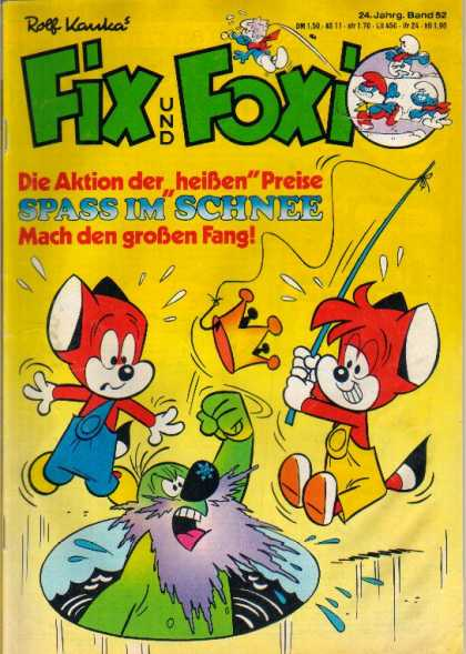 Fix und Foxi 1094 - Fishing - Blue Smurfs - Gold Crown - Green Grouch - Overalls