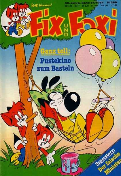 Fix und Foxi 1204 - Fox - Balloons - Tree - Hammock - Dog