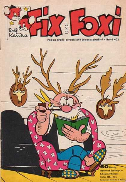 Fix und Foxi 402 - Pipe - Man - Antlers - Deer Heads - Chair