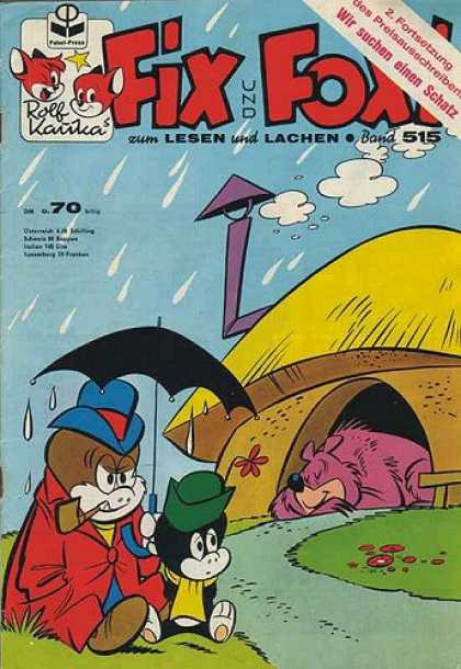 Fix und Foxi 515 - Hut - Bear - Raindrops - Black Umbrella - Cat