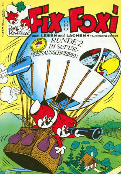 Fix und Foxi 652 - Hot-air Ballon - Parrot - 2 Red Foxes - Green Countryside - Telescope