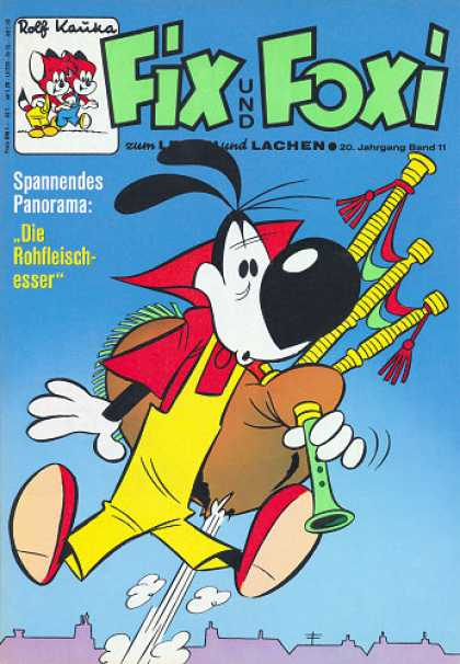 Fix und Foxi 847 - Bagpipe - Red Shirt - Yellow Overalls - Rooftops - Red Shoes