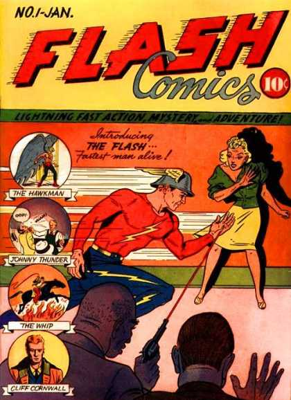 Flash Comics 1 - Laser - The Hawkman - Johnny Thunder - The Whip - Cliff Cornwall - Sheldon Moldoff