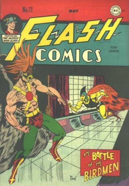 Flash Comics 71 - Hawkman - Window - Curtains - Birdmen - Battle - Joe Kubert