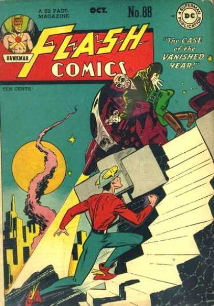 Flash Comics 88 - October - Full Moon - Stairs - Plastic Man - Cast Of The Vanished Year - Joe Kubert