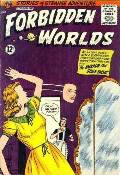 Forbidden Worlds 109 - Mirror - Maid - Mask - Yellow Dress - Purple Walls