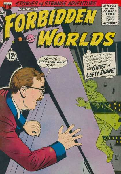 Forbidden Worlds 112 - Ghost - Man - Building - Glasses - The Ghost Of Lefty Shane