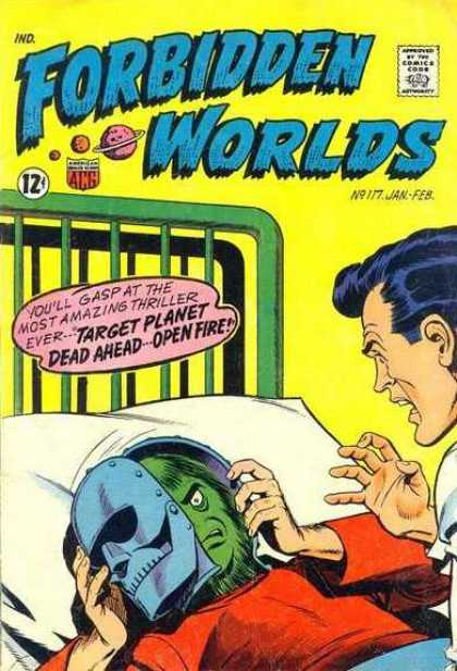 Forbidden Worlds 117 - Yellow Wall - Green Bed - Bed Pillow - Iron Mask - Red Shirt