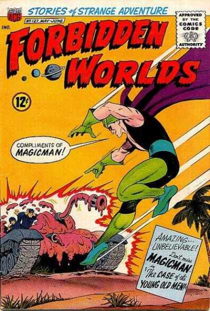 Forbidden Worlds 127 - Magicman - Tank - Purple Cape - Green Gloves - Explosion