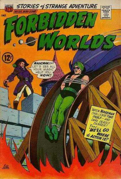 Forbidden Worlds 135 - Magicman - Pirate - Stories Of Strange Adventure - Waterwheel - Fire
