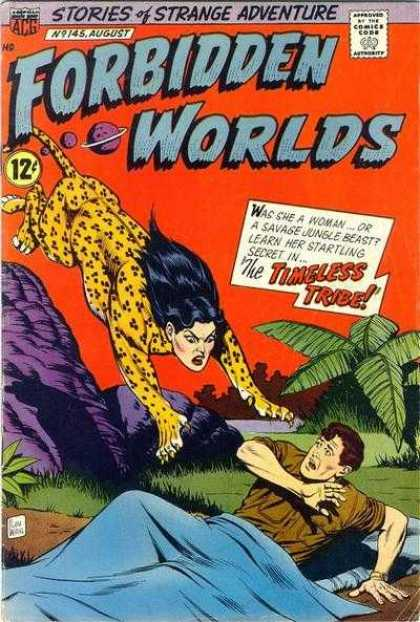 Forbidden Worlds 145 - Stories Of Strange Adventure - Approved By The Comics Code - Man - Tree - Woman-leopard