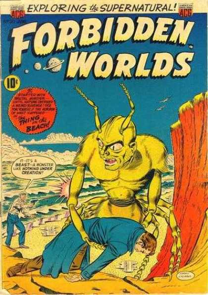 Forbidden Worlds 30 - Exploring The Supernatural - The Thing On The Beach - Monster - Man - Policeman