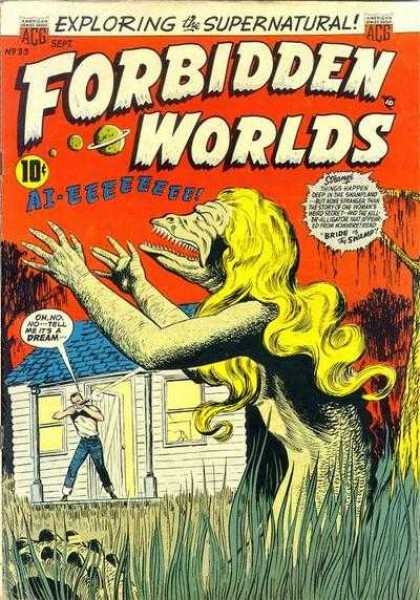 Forbidden Worlds 33 - Lizard Woman - Monster - Swamp - Horror - Scaly Creature