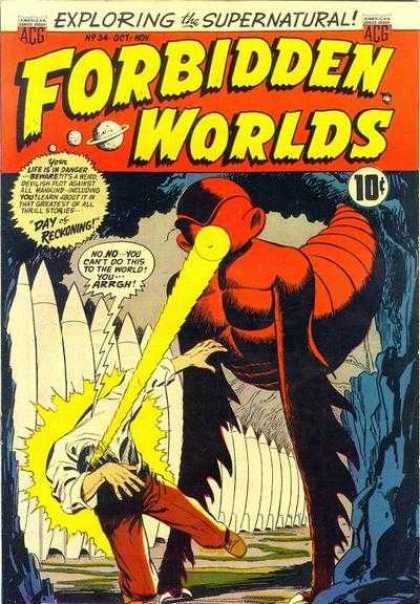 Forbidden Worlds 34 - Speech Bubble - 10 Cents - Planet - Laser - Exploring The Supernatural