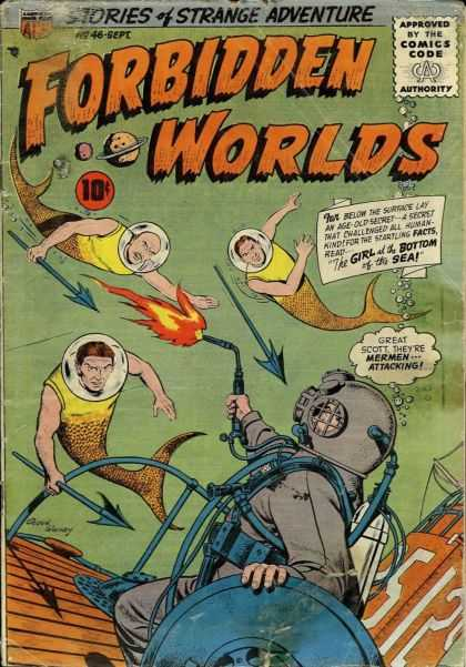Forbidden Worlds 46 - Spears - Mermaid Men - Underwater Diver - Torch - Sunken Ship